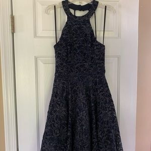 Navy and silver skater dress